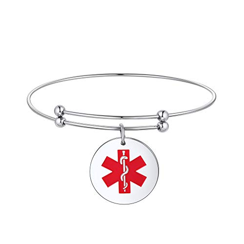 Supcare Medical Bangle Adjustable Bracelets for Women/Girls,316l Stainless Steel Round Medical Id Tags for Emergency Bracelet,Personalized Medical Alert Jewelry Gifts for Girl/Women/Mum
