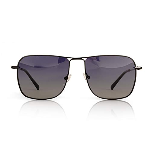 fawova Gafas De Sol Aviador Hombre Mujer Polarizadas Negro/Verde/Gris/Marron/Espejado/Oro Rosa, Conducir, Pescar, Golf, Correr, UV400, Cat.3,58mm (56mm-Negro, Azul Degragado)
