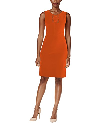 Ivanka Trump Womens Gold Lace-Up Hardware Sheath Dress (10, Coral)