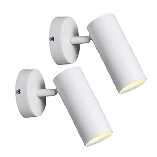 Paquete de 2 LED accesorio de la pared - Luz del punto fresco montado GU10 180 ° ajustable Cabeza - Iluminación del acento de Pasillo Pasillo Visualización de la galería de cocina y sala de estar - Bl