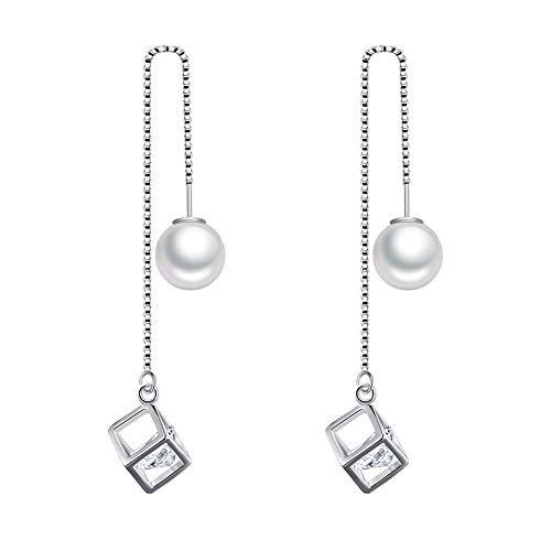 Pendientes para mujer con borla larga y colgante en forma de cubo de perlas de cristal de plata de 10 cm