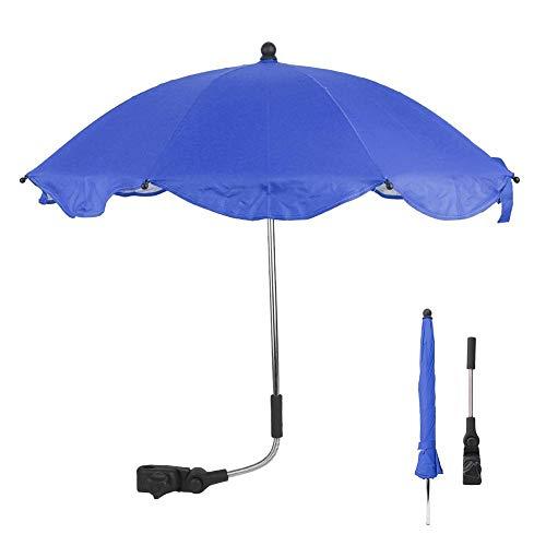 Demeras Verstellbarer Universal-Fahrrad-Regenschirm, Babywagen-Sonnenschutz für Fahrräder für Kinder und Babys (blauer Regenschirm)