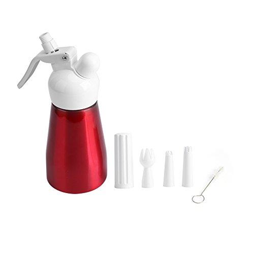 Dispensador de crema batida de 250 ml, dispensador de crema batida de aluminio rojo portátil, dispensador de crema de postre, dispensador de mantequilla, batidor de espuma