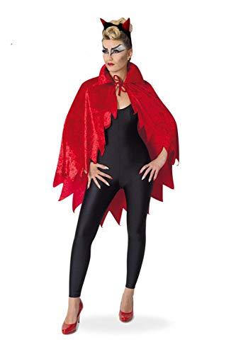 KarnevalsTeufel Kostüm für Erwachsene Devil-Cape Umhang in teuflischem Rot und Samtoptik mit Fetzen (OneSize)