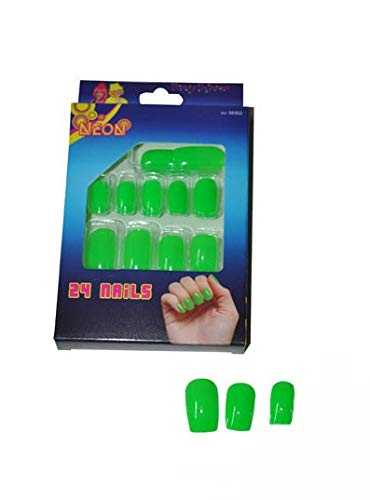 Fiesta Palace - lot de 24 faux ongles vert fluo neon