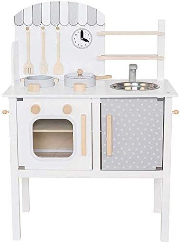 pelzitoys Kinderküche aus Holz mit Zubehoer, Topf und Pfanne, Küchenspielzeug-Spielküche grau, Weiß, Holz Farbe JaBaDaBaDo
