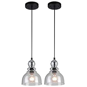 Westinghouse 6100800 Industrial One-Light Adjustable Mini Pendant with Handblown Clear Seeded Glass, Brushed Nickel Finish-2 Pack, 2-Pack, Oil Rubbed Bronze, 2 Count