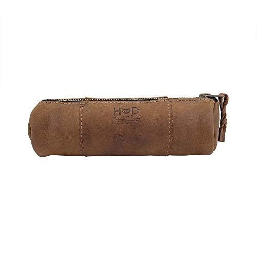 Hide & Drink, Rustic Leather Cylinder Case (Keys, Office & School Supplies, Change, Personal Items, Cables & Dongles) Raw Sueded Interior, Handmade Includes 101 Year Warranty :: Bourbon Brown