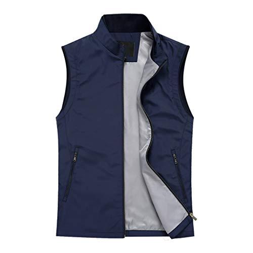 THBEIBEI Chaleco de negocios para hombre de primavera y verano, chaleco de trabajo suelto con sección delgada (color: azul 3, tamaño: XXL)