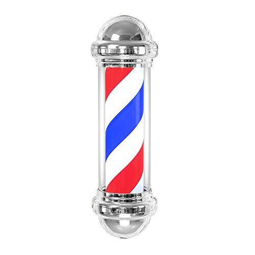 Barber Pole - Lámpara LED para salón de peluquería o peluquería con signo de almacenaje, lámpara de pared giratoria, impermeable, Barbershop Pole Sign Lights White Blue Stripe Barber LED