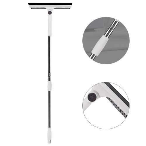 Leah Daly Retractable Aluminum Rod Double Sided Window Cleaner Window Cleaning Kit with 3 Section Aluminum Extension Pole Light Weight All-in-One Best for Home Clean White