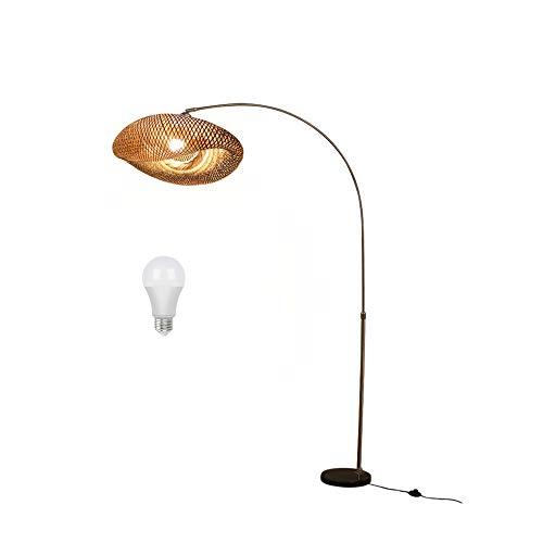 Bambus Rattan Stehlampe E27, 90-175cm Höhenverstellbar Bogenlampe, Standllampe Dimmbar mit Fernbedienung, Marmorsockel Standleuchte, für Wohnzimmer Schlafzimmer Arbeitszimmer (Inkl. LED Birne),B