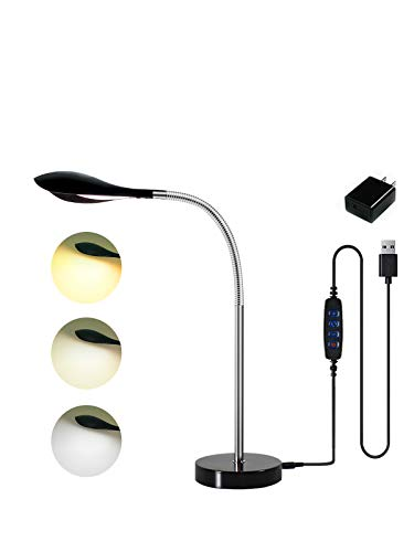 Multifunctional LED Desk Lamp, Eye-Caring Table Lamps, Natural Light Protects Eyes, 3 Modes, 10 Brightness Levels, Flexible Gooseneck, Adjustable Table lamp with USB Charging Port (Black)