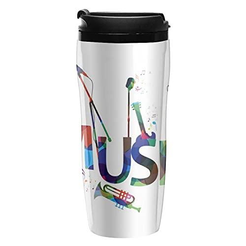 Botella de agua Notas musicales coloridas Tazas de café de viaje con tapa