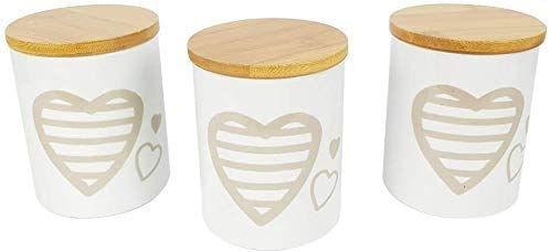 BUYSTAR Set da 3 barattoli Porta Sale Zucchero caffè in Ceramica Bianca con Coperchio Legno Tris barattoli da Cucina