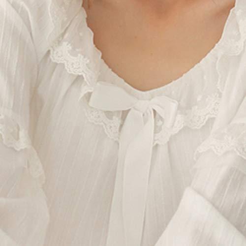 YPDM Badjas, dames Long Nightgown Pijamas Royal Sleepwear Pyjamas Cotton Princess Nachthemd 3 kleuren