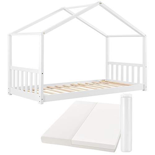 ArtLife Kinderbett Paulina 90 x 200 cm mit Matratze, Lattenrost und Dach - Bett für Kinder aus massivem Holz - Hausbett in Weiß