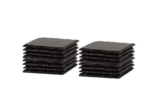 BigDean Schiefer-Untersetzer Set 16 teilig 10x10 cm quadratische Tisch-Untersetzer Servierplatten - 4 Gummifüße zum Schutz