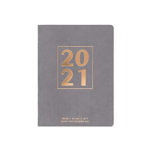 "DesignWorks Ink 17-Month Dated Simple Planner (August 2020 - December 2021), 6"" x 8"", Mushroom - Bold Block"