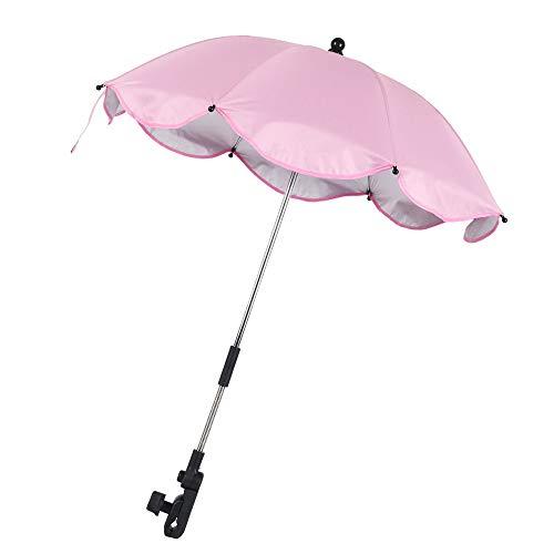 Baby Pram Umbrella, Pushchair Parasol Umbrella UV Parasol for Pushchairs and Buggy Foldable Baby Umbrella Outdoor for Pram, Stroller, Pushchair and Buggy (Pink)