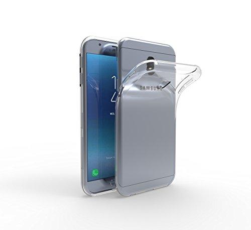 SDTEK Funda Compatible con Samsung Galaxy J3 (2017) [Transparente Carcasa] Case Bumper Cover Suave Crystal Silicona
