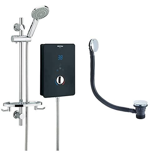Bristan BL3105 B Bliss 3 Electric Shower, 10.5 kW, Black & W BATH03 C Round Clicker Bath Waste with Overflow C, Chrome