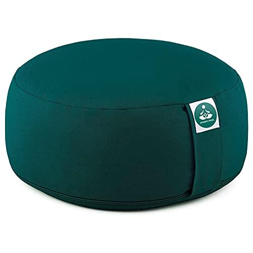 Present Mind Cojines Redondos de Yoga (16 cm) – Verde Esmeralda – Zafu de Yoga –...