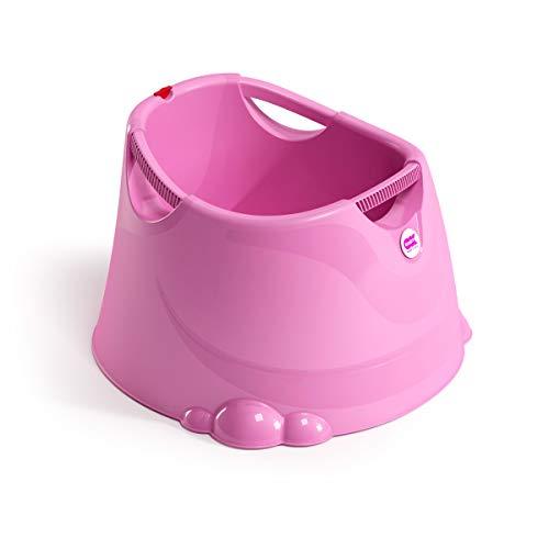 OKBABY Oplà - Bañera con asiento para niños pequeños - Compacta con soporte ergonómico, asas de agarre cómodas para llevar, higiénica y fácil de limpiar, para baños, interiores y exteriores - Fucsia