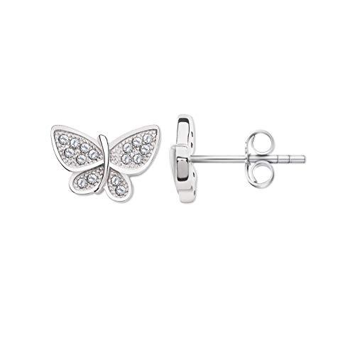 Pendientes de mariposa, plata de ley 925 con piedras de circonita y acabado de rodio, acabado de filigrana, cierre de mariposa, 7 x 10 mm, regalo de boda, cumpleaños
