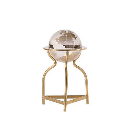 Gazing Divination Crystal Ball 3D Crystal Globe Decoration, Earth Model Ball With Metal Bracket, Suitable For Children K9 Crystal Ball, For Home Decoration Birthday Feng Shui, and Fortune Telling Ball