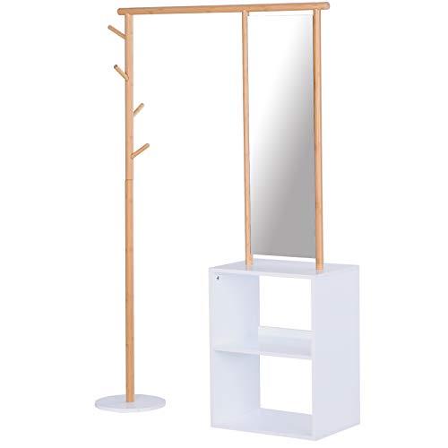 HOMCOM Garderobenständer mit Schminkspiegel, Kleiderständer mit Regal, 4 Haken, Bambus, Natur, 100 x 34 x 164 cm