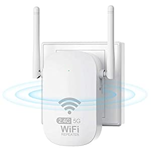 Getue Repetidor WiFi Amplificador WiFi AC1200 Repetidor WiFi 5GHz y 2.4GHz Amplificador Señal WiFi Repetidor Señal WiFi,Ap/Repeater Modos,Compatible con Enrutador Inalámbrico,Blanco