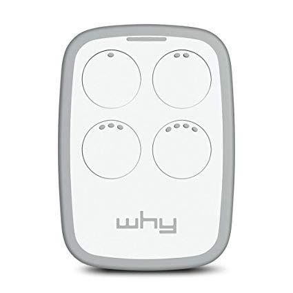 WHY EVO - Radiocomando Universale Apricancello - Ampio Raggio - Multifrequenza da 300 a 868Mhz - 4 Tasti - Bianco - Magnolia White