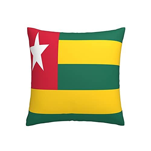 Kissenbezug mit Flaggen-Motiv von Togo, quadratisch, dekorativer Kissenbezug für Sofa, Couch, Zuhause, Schlafzimmer, für drinnen & draußen, niedlicher Kissenbezug 45,7 x 45,7 cm