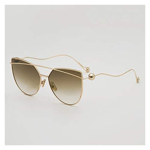 LDH Gafas de Sol Personalizadas para Las Mujeres, Gafas de Sol Irregulares de Marco de Metal, Gafas de Alto Marco de Alta Definición, Protección UVA Y UVB
