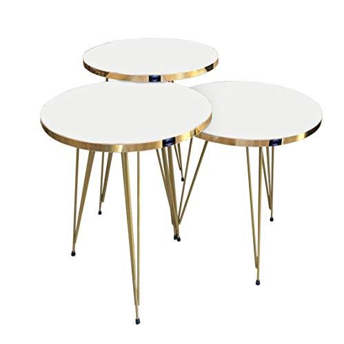 moebel17 5378 EYGD07 - Beistelltisch 3 er Set rund - Kaffeetisch Satztisch mit Metallgestell, Wohnzimmertisch Tisch, Weiß, Füße vergoldet, Breite 38 cm x Höhe (H) 45,5 cm (H) 49,5 cm (H) 53,5 cm
