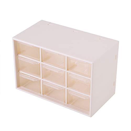 Boîte De Rangement, MAGT Portable En Plastique 9 Treillis Mini Armoires Bijoux Tiroir Poli Et Lisse Cosmétique Boîte De Rangement Blanc