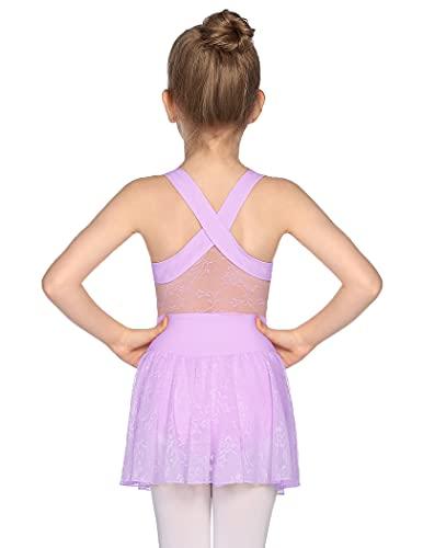 Zaclotre Girls Ballet Leotards Cross Back Dance Lace Skirted Leotard for Kids Purple Size 3-4 Toddler