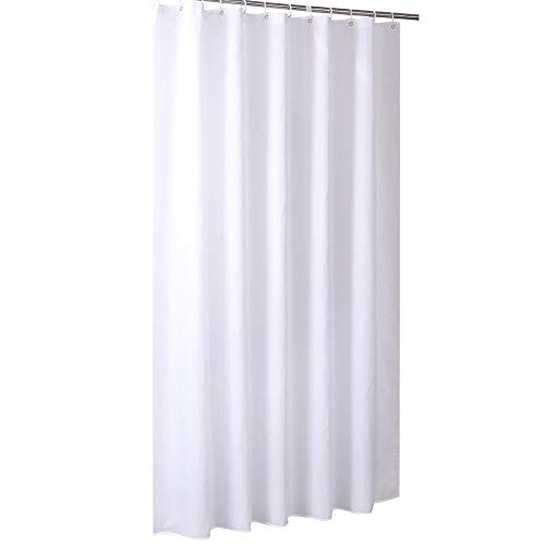 Ichiias Duschvorhang Polyester Mehltaubeweis Wasserdichter Badvorhang mit Haken Reinweiß(240 x 180CM)