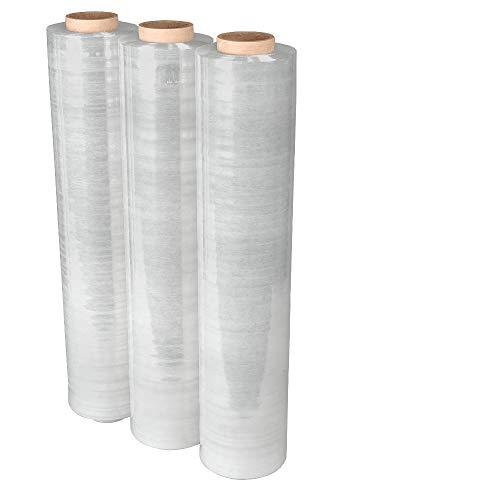 3 Rollen Stretchfolie 300 lfm 500 mm 20 my Paletten-folie transparent