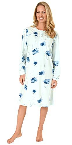 NORMANN WÄSCHEFABRIK Elegantes Damen Nachthemd mit 105 cm Länge und Kopfleiste am Hals - 291 210 90 193, Farbe:helltürkis, Größe2:52/54