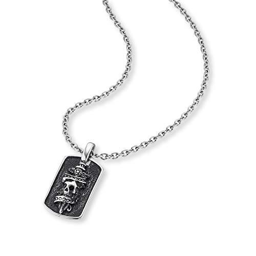 SAVE BRAVE® Dog-Tag Halskette Herren mit Totenkopf Anhänger, Bikerl Anhänger schwarz IP,coole Kette, Männer Herren Edelstahl Halskette, Ankerkette IP, Skelett, Biker Kette modern und cool mit Box
