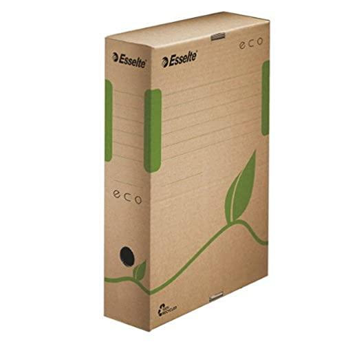 Esselte Archiv-Schachtel, 80 mm Rückenbreite, A4, 100% recycelte Wellpappe, Naturbraun, Eco Archiv Serie, 623916