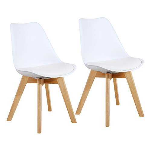 Set of 2 Modern Style Chair Dining Chairs, Shell Lounge Plastic Chair with Natural Wood Legs (White)