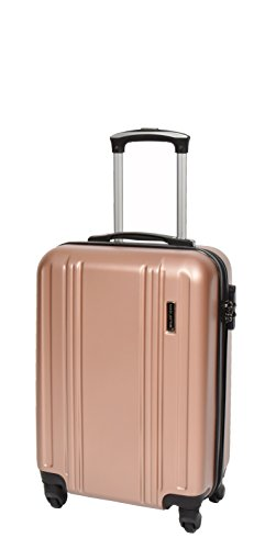 Durable 4 Wheel Suitcases Lightweight Hard Shell Luggage Built-in Lock Travel Bags HLG770 Rose Gold (Small Cabin 55x35x20cm/ 2.50KG)