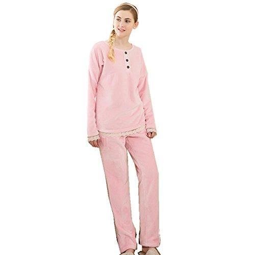 Manica lunga flanella pizzo Ultima donna bordo da notte ispessita pigiama vestaglia invernale che può essere indossato all'aperto , pink , xxl