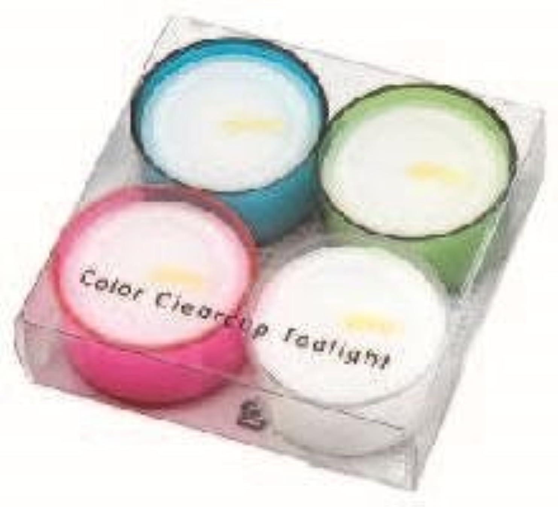 家事指全体カメヤマキャンドル( kameyama candle ) カラークリアカップティーライト4個入り 「 4色アソート 」