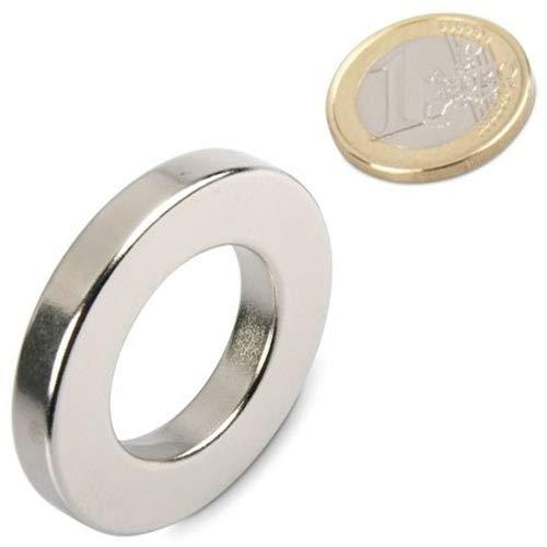 Ring-Magnet Magnetring aus Neodym (NdFeB) - Größe & Stückzahl wählbar - Haftkraft bis 36kg - starke Magnete (Supermagnete) in Ringform mit extremer Haftkraft, Größe: Ø40/23x6mm   10kg Haftkraft