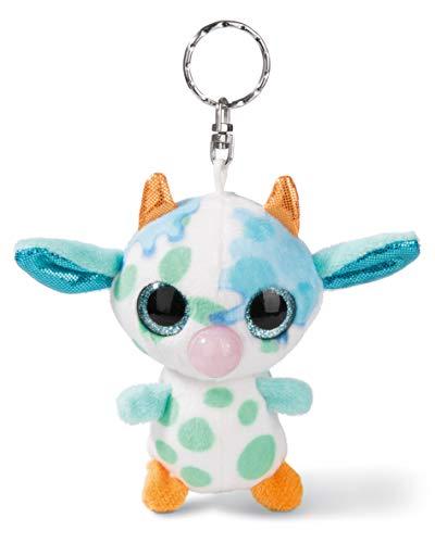 NICI 45286 NICIdoos Baby-Kuh 9cm Schlüsselanhänger, Plüschtier mit Schlüsselring, bunt