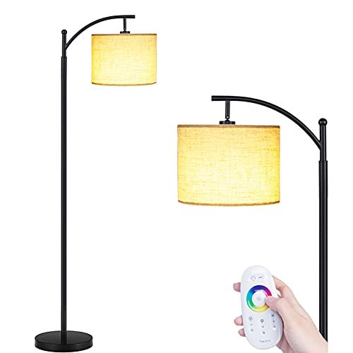 Floor Lamps for Living Room, LED Floor Lamp Remote Control with Stepless Brightness Multi Color Changing Reading Adjustable Modern Standing Lamp for Bedroom Office, Bulb Included